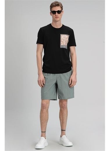 Lufian Mark Modern Grafik T- Shirt  Siyah